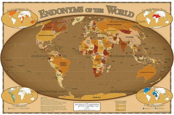Une carte donne le nom des pays dans leur langue natale