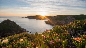 visiter jersey coucher de soleil mer