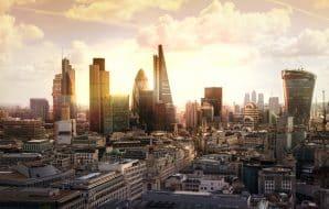 Coucher de soleil sur Londres et le quartier d'affaires