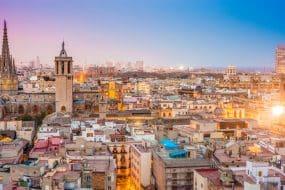 Vue aérienne sur le quartier Barri Gotic à Barcelone