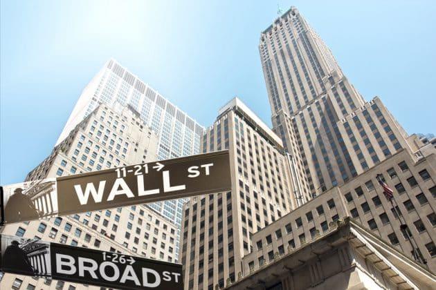 Panneau de la rue New York Wall Street corner Broad street