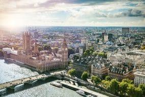 Vue aérienne de Londres et du quartier de Westminster