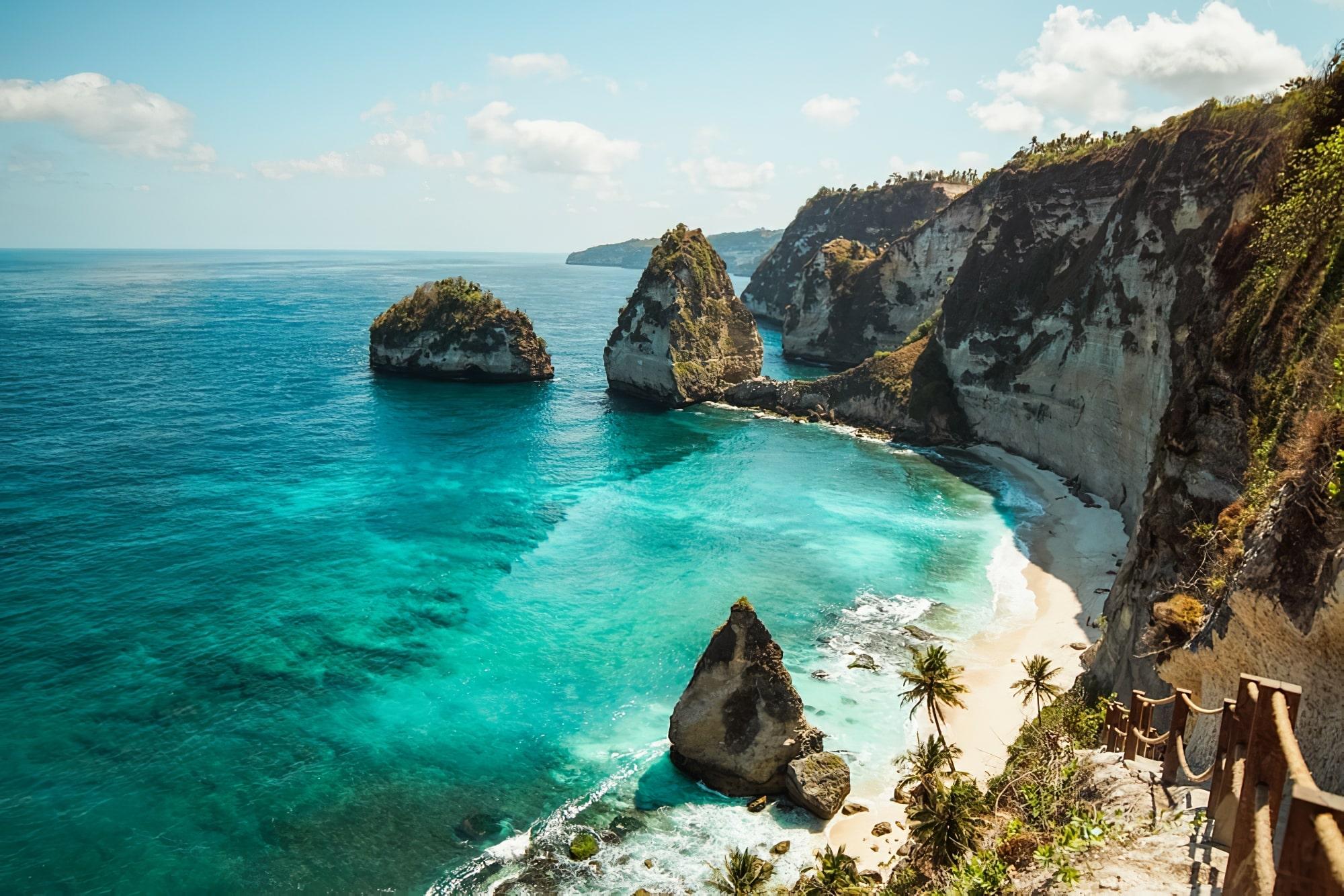 grands pays asie : La belle plage de diamants de Nusa Penida, Bali, Indonésie