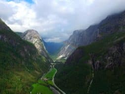 Stalheim valley Norway aerial view rainbow