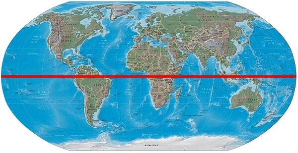 carte du monde avec ligne de l'equateur