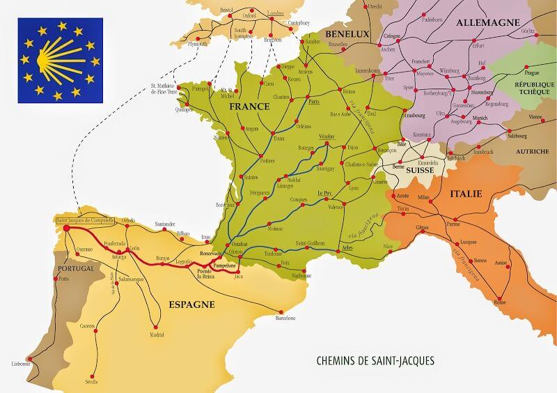 carte des chemins de Compostelle, itineraires, Europe