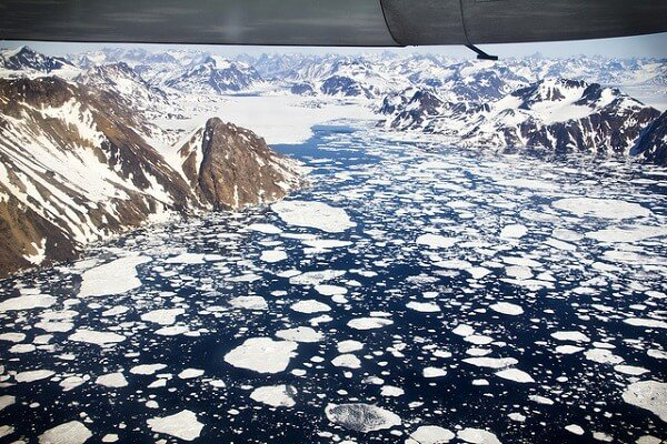 Groenland vue du ciel glacier