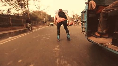 L'Inde en rollers