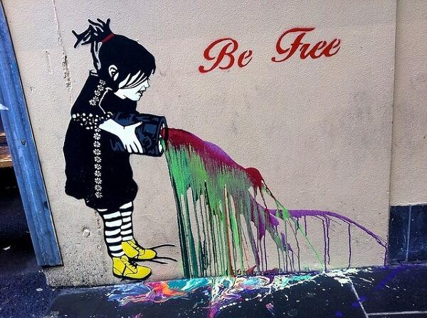 Street art on Degraves St Melbourne
