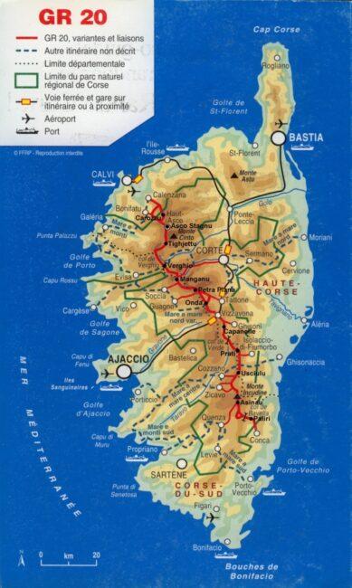 Carte détaillée du GR20 en Corse