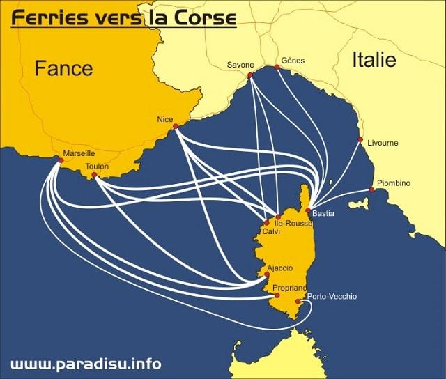 Carte des lignes de ferry pour la Corse
