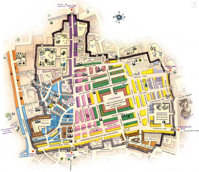 Carte du Grand Bazar d'Itanbul