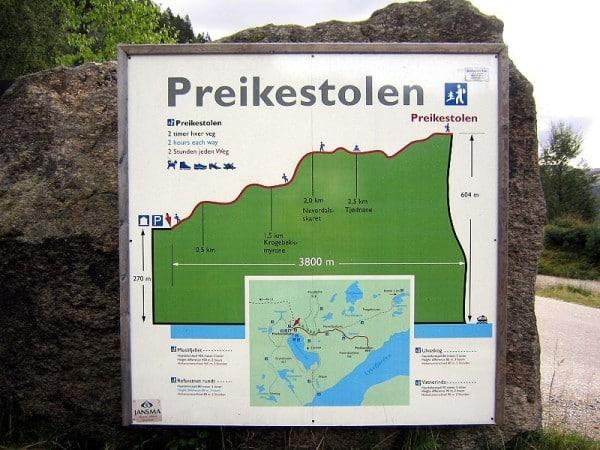 Carte itinéraire dénivelé Preikestolen