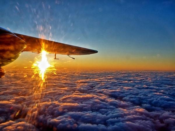 Coucher de soleil depuis avion