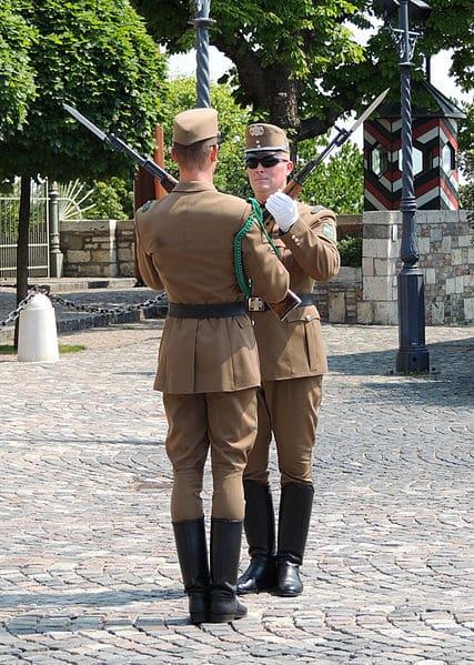 Relève de la garde devant le Palais Sandor à Budapest