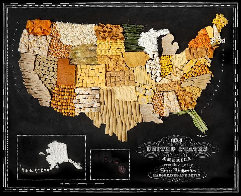 Les cartes de pays illustrées par leurs produits régionaux
