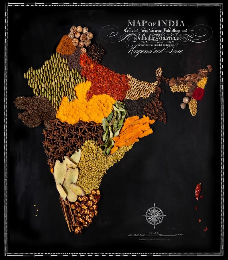 Carte de l'Inde avec ses spécialités