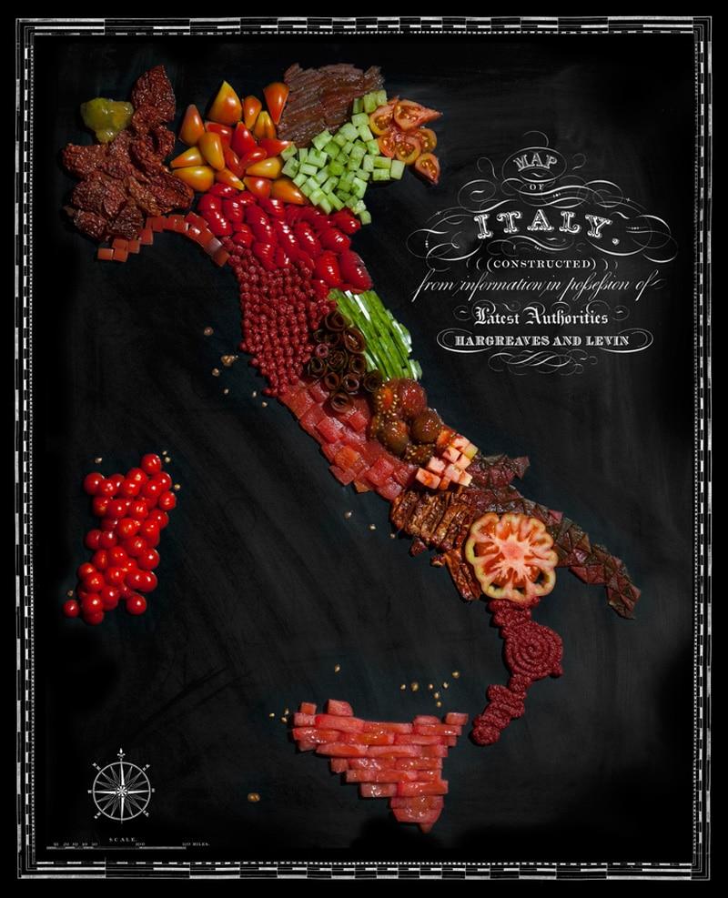 Carte de l'Italie avec ses spécialités
