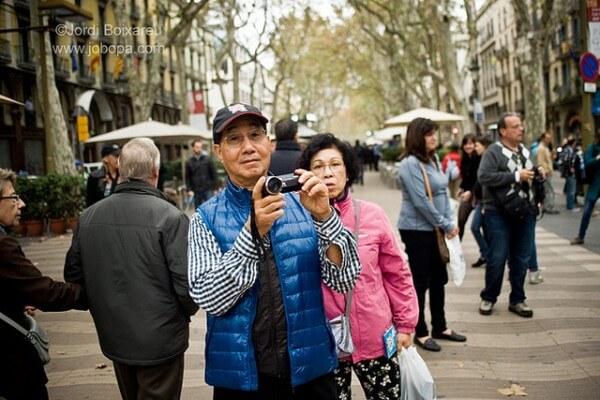 Touristes La Rambla Barcelone