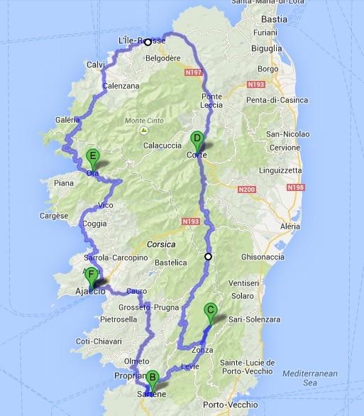 Trajet road trip Corse