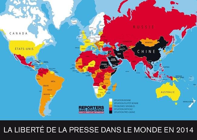 Carte liberté de la presse dans le monde en 2014
