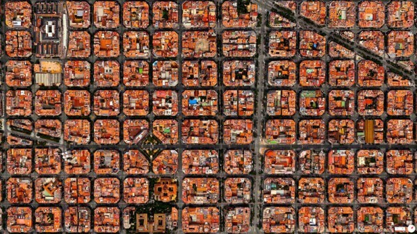 Vue satellite district Eixample Barcelone