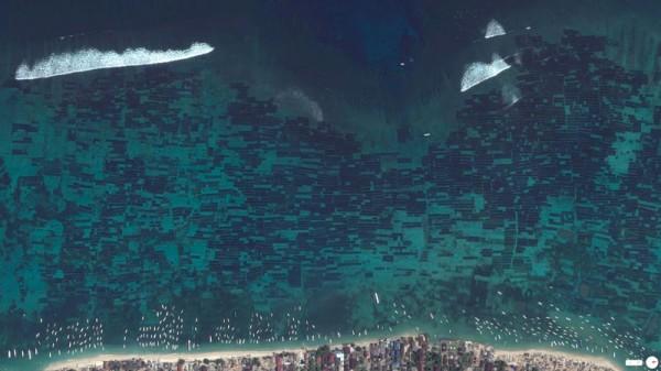 Vue satellite ferme d'algues Indonesie