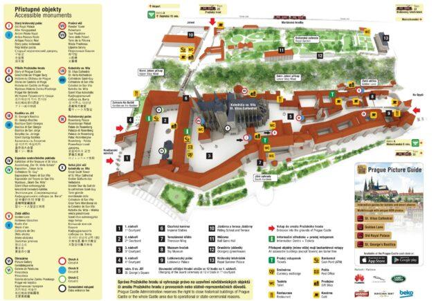 Carte, plan des monuments du château de Prague