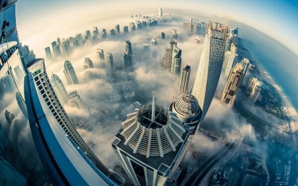 Hélico Dubaï vue aérienne