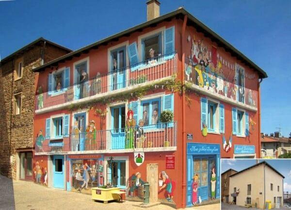 Patrick Commecy trompe l'oeil facade peinture Vaux-en-Beaujolais