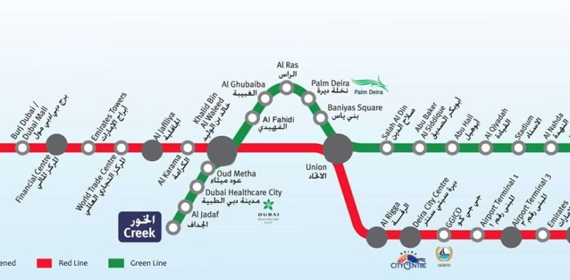 Plan du métro de Dubaï depuis l'aéroport