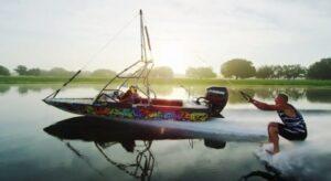 barefoot ski nautique sans ski bateau hydravion