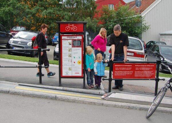 CycloCable à Trondheim, remonte vélo, vélo escalator