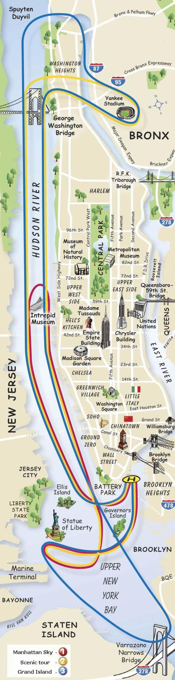 Itinéraires et tours en helicoptère à New York, carte des différents trajets et durées possibles pour survoler New York