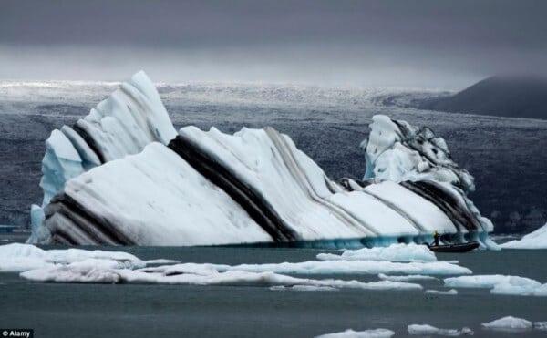 glacier à rayures