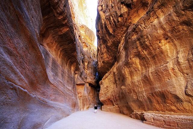Défilé, canyon, Siq, Petra, Jordanie