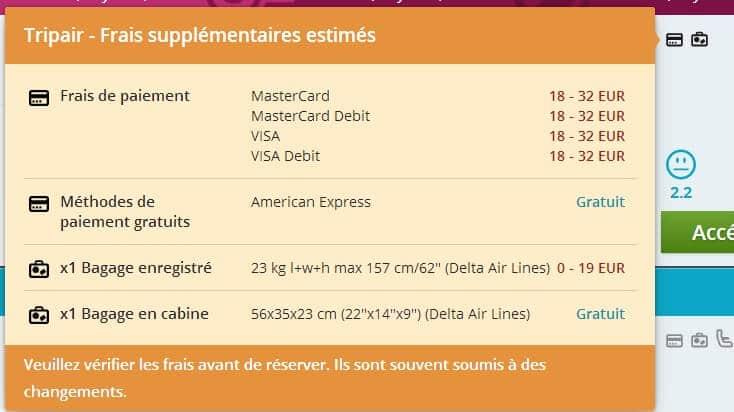 Info frais supplementaires Momondo