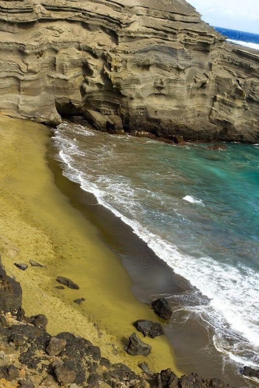Papakolea Beach, plage de Papakolea, sable vert, Hawai