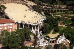 Parc Guell vue du ciel, Barcelone Espagne