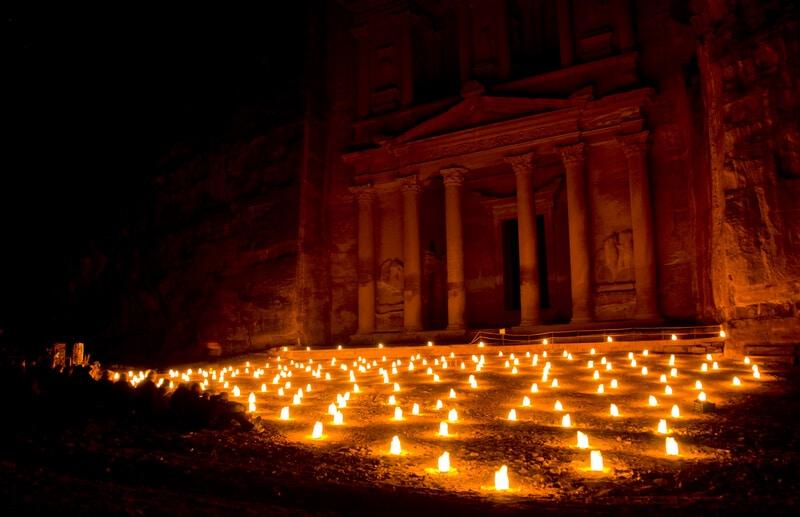 Petra by Night, Petra la nuit, Jordanie