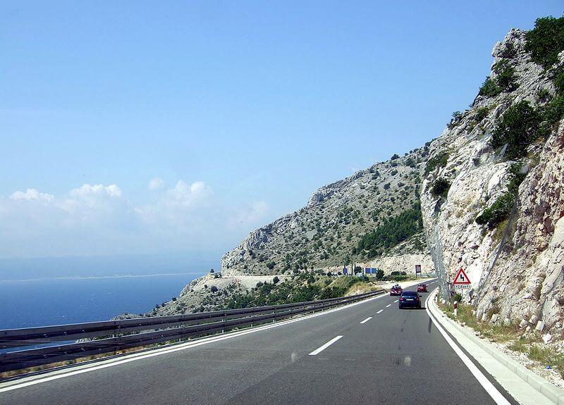 Plus belles routes de moto, D8 Autoroute Adriatique, Croatie