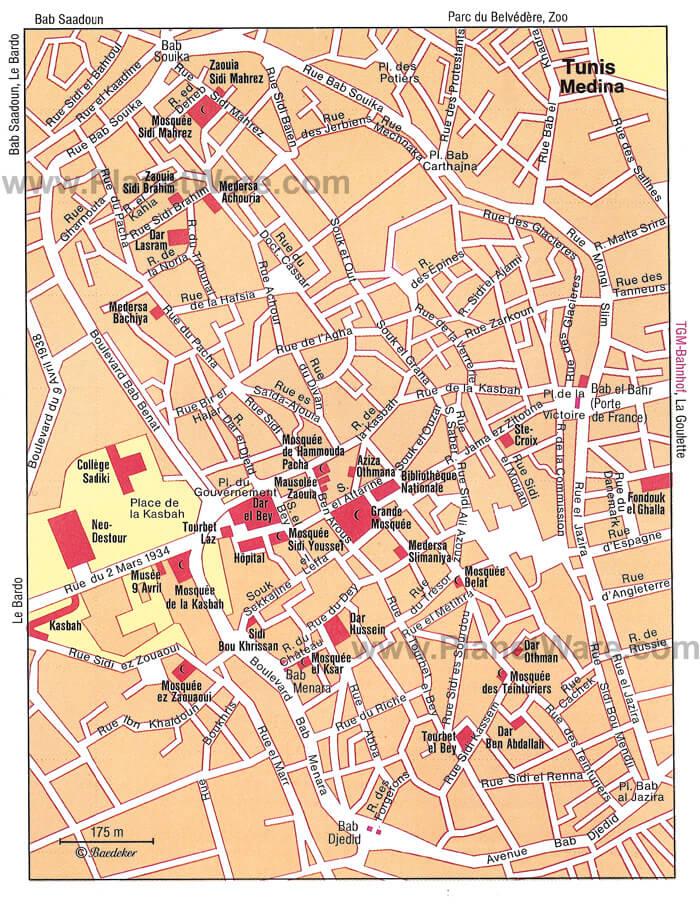 Carte détaillée de la medina de Tunis