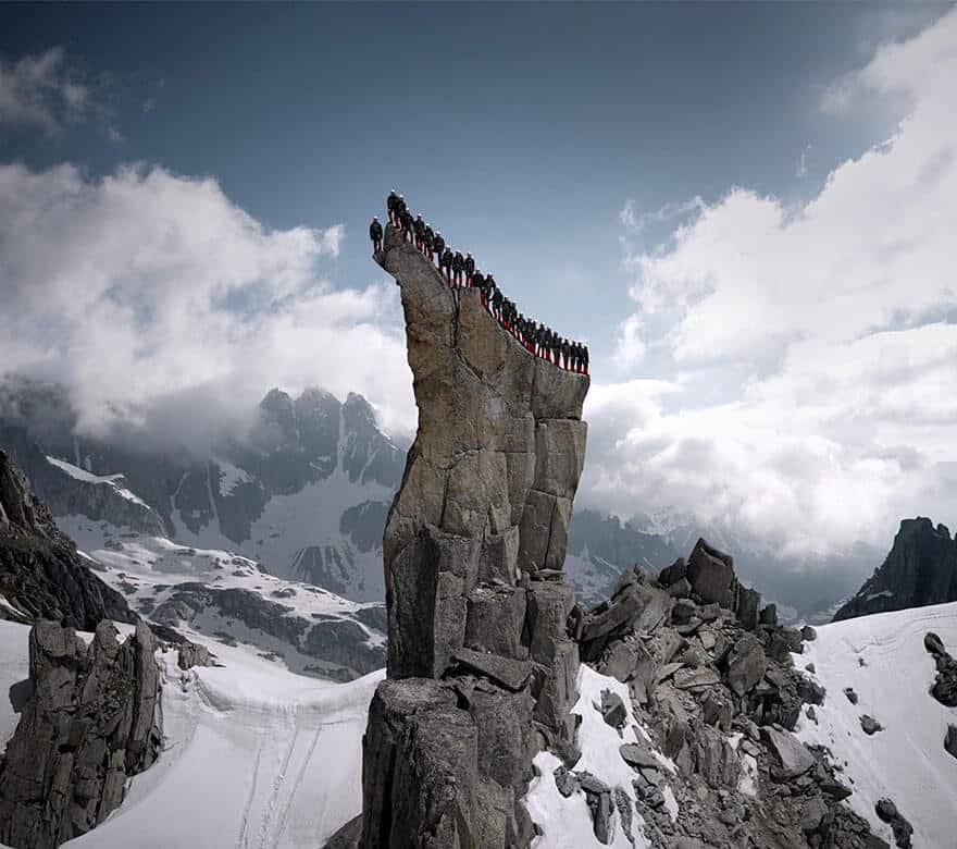 Photo du Cervin (Matterhorn) par Robert Bösch pour la pub Mammut, dans les Alpes