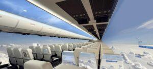 Avion sans fenêtres, sans hublots, avec écrans tactiles (OLED), innovation transports aériens