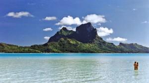 Bora-Bora, paysage, turquoise, montagne
