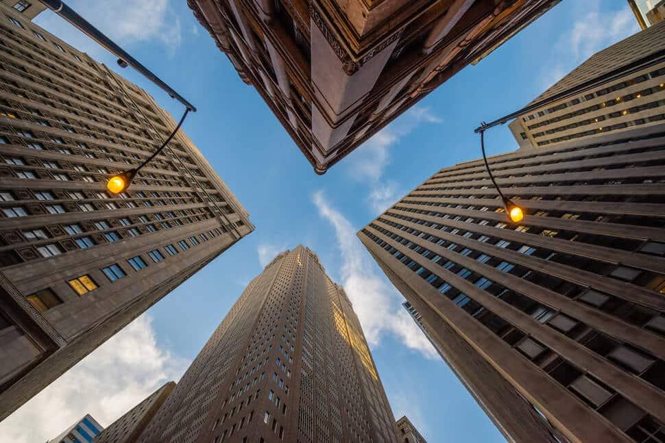 Photos de grandes villes vue d'en bas, skyline, lever les yeux