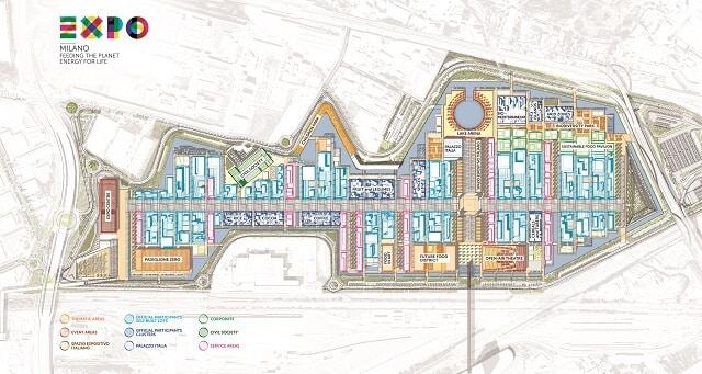 Plan, carte, map, de l'Expo 2015 à Milan