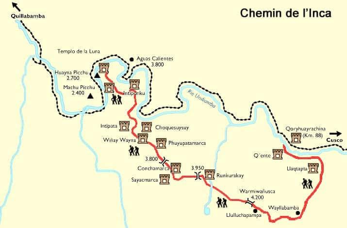 Plan du chemin de l'Inca, carte