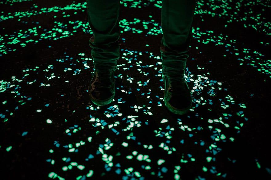 Van Gogh, La Nuit Etoilée, piste cyclable phosphorescente, Pays-Bas, Daan Roosengaarde