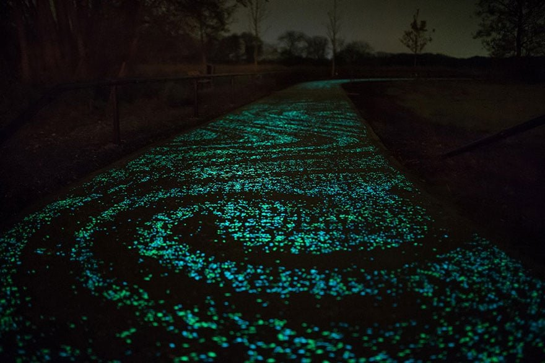 Les Pays-Bas dévoilent la première piste cyclable phosphorescente